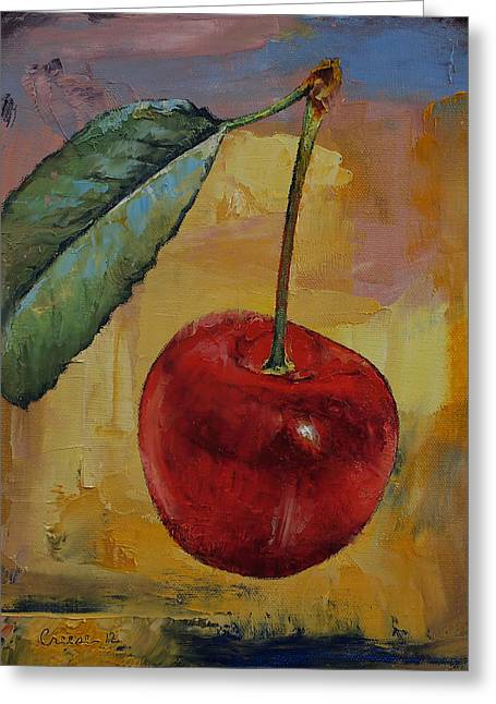 Ruby Greeting Cards - Vintage Cherry Greeting Card by Michael Creese
