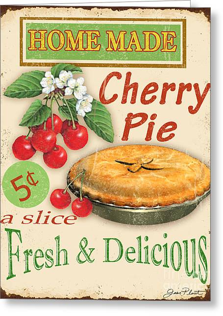 Dessert Digital Greeting Cards - Vintage Cherry Pie Sign Greeting Card by Jean Plout