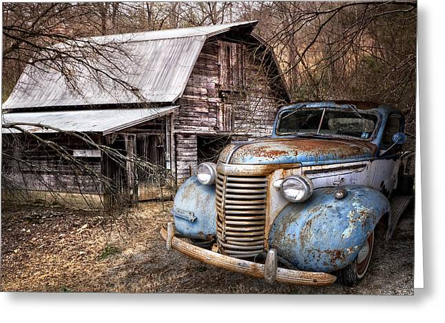 Tennessee Barn Greeting Cards - Vintage Chevrolet Greeting Card by Debra and Dave Vanderlaan