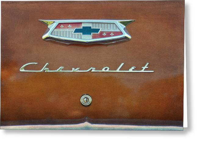 Chevrolet Trunk Greeting Cards - Vintage Chevrolet Emblem On Trunk Greeting Card by Cat Whipple