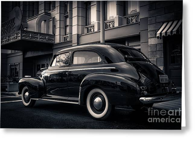 1939 Greeting Cards - Vintage Chevrolet in 1934 New York City Greeting Card by Edward Fielding