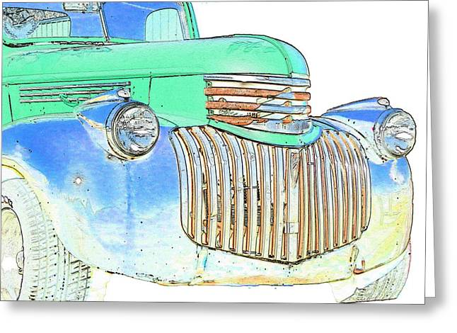 Chevrolet Pickup Truck Digital Greeting Cards - Vintage Chevrolet Pickup 2 Greeting Card by Betty LaRue