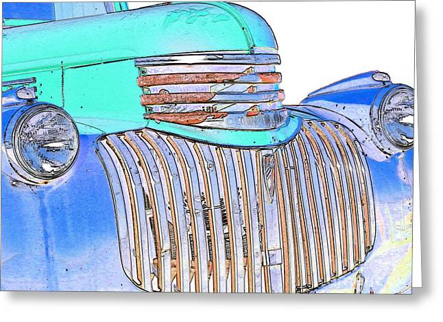 Chevrolet Pickup Truck Digital Greeting Cards - Vintage Chevrolet Pickup 3 Greeting Card by Betty LaRue