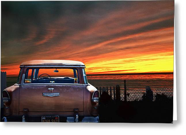 Larry Butterworth Greeting Cards - Vintage Chevrolet With California Sunset Greeting Card by Larry Butterworth