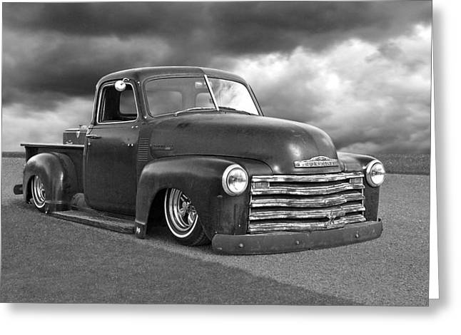 Old Pickup Greeting Cards - Vintage Chevy 1949 Black and White Greeting Card by Gill Billington