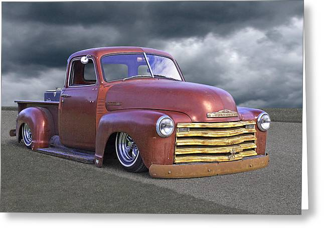 Old Pickup Greeting Cards - Vintage Chevy 1949 Greeting Card by Gill Billington
