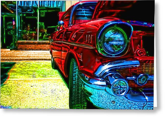 Chevrolet Greeting Cards - Vintage Chevy Car Art Alley Cat Red Greeting Card by Lesa Fine