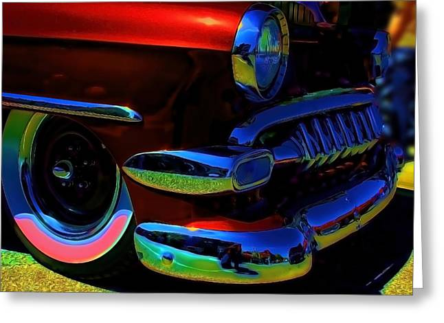 Chevrolet Greeting Cards - Vintage Chevy Grill  Toothy Chome Pop Greeting Card by Lesa Fine