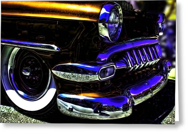 Chevy Greeting Cards - Vintage Chevy Grill  Toothy Chrome Copper Greeting Card by Lesa Fine