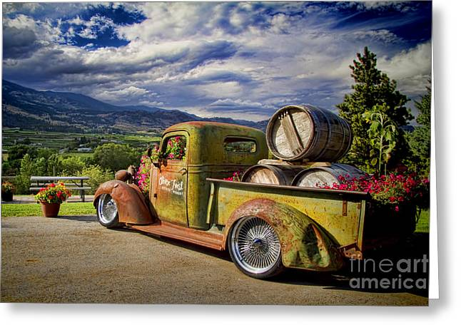 Okanagan Valley Greeting Cards - Vintage Chevy Truck at Oliver Twist Winery Greeting Card by David Smith
