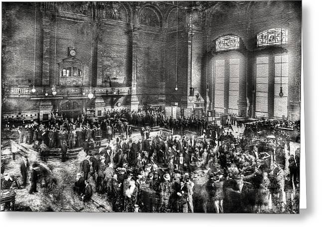 Historical Art Greeting Cards - Vintage Chicago - Board of Trade during Session 1905 Greeting Card by Ben Thompson