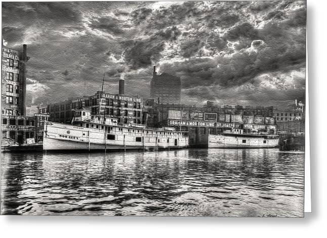 Canvas Framing Paintings Greeting Cards - Vintage Chicago - Graham and Morton Line Docks 1900 Greeting Card by Ben Thompson