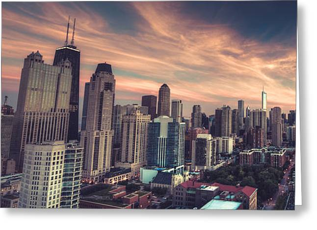 Downtown Area Pictures Greeting Cards - Vintage Chicago Panoramic Greeting Card by Adam Oles