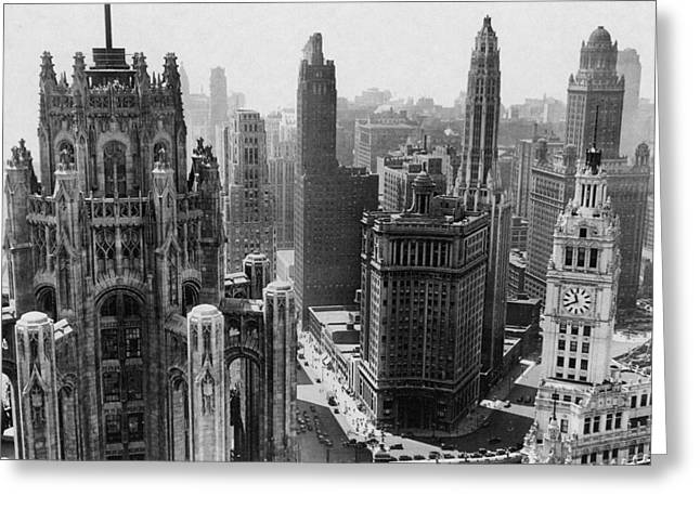 Vintage Chicago Skyline Greeting Card by Horsch Gallery