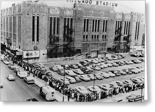 Vintage Chicago Stadium Print - Historical Blackhawks Black  White Greeting Card by Horsch Gallery