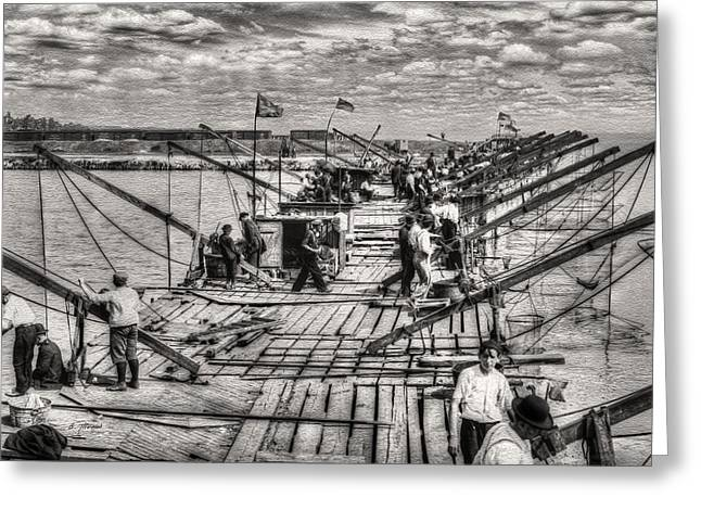 Canvas Framing Paintings Greeting Cards - Vintage Chicago - The Fishing Pier 1912 Greeting Card by Ben Thompson