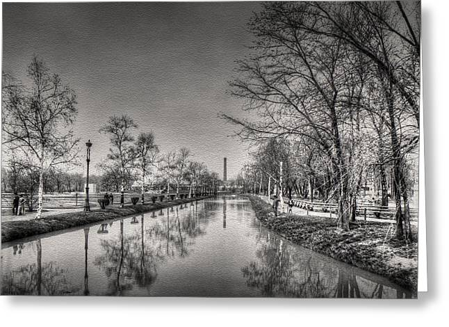 Old Greeting Cards - Vintage Chicago - The Lagoon - Lincoln Park 1895  Greeting Card by Ben Thompson