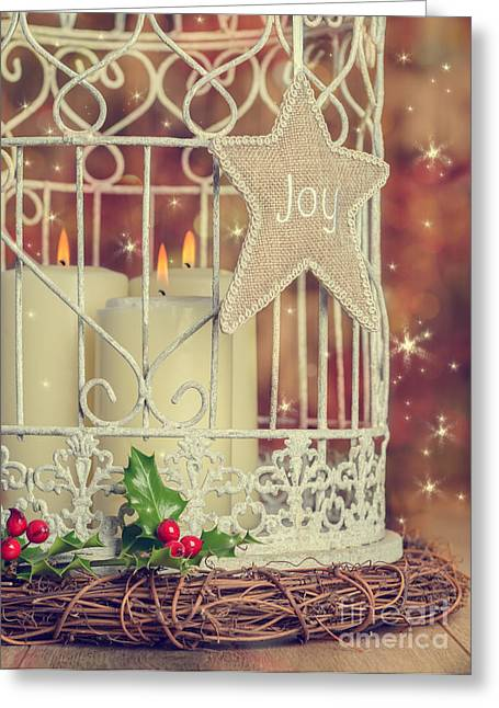 New Year Greeting Cards - Vintage Christmas Candles Greeting Card by Amanda And Christopher Elwell