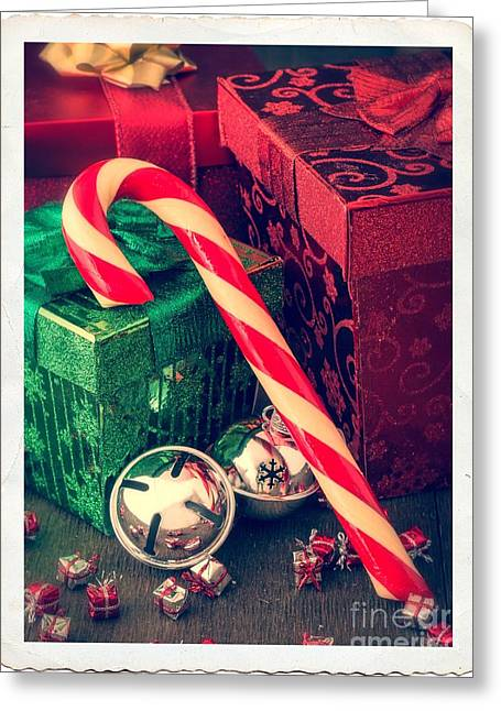 Packaged Greeting Cards - Vintage Christmas Candy Cane Greeting Card by Edward Fielding