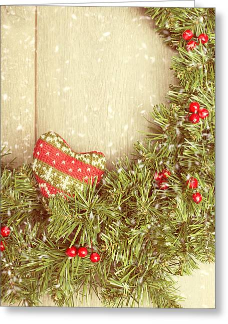 Christmas Doors Greeting Cards - Vintage Christmas Garland Greeting Card by Amanda And Christopher Elwell