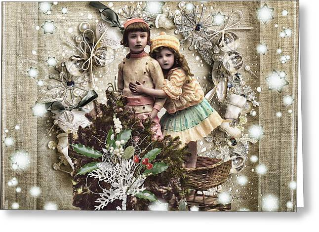 Cards Vintage Greeting Cards - Vintage Christmas Greeting Card by Mo T
