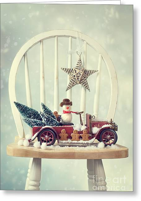 Snow Scenes Greeting Cards - Vintage Christmas Truck Greeting Card by Amanda And Christopher Elwell