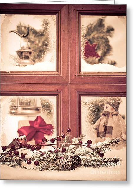 Spruce Cone Greeting Cards - Vintage Christmas Window Greeting Card by Amanda And Christopher Elwell