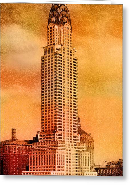 Building Greeting Cards - Vintage Chrysler Building Greeting Card by Andrew Fare