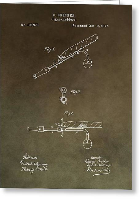 Smoker Greeting Cards - Vintage Cigar Holder Patent Greeting Card by Dan Sproul