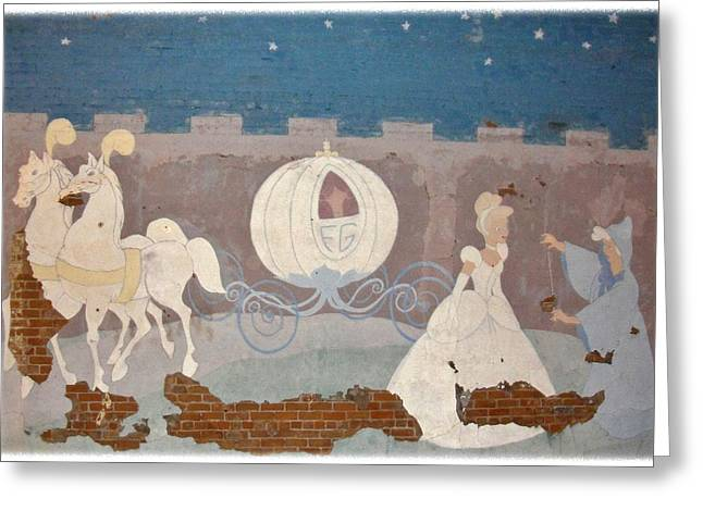 Ball Gown Greeting Cards - Vintage Cinderella Mural Greeting Card by Natalie Ortiz
