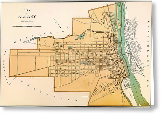 Illustrative Greeting Cards - Vintage City Map of Albany New York 1895 Greeting Card by Mountain Dreams