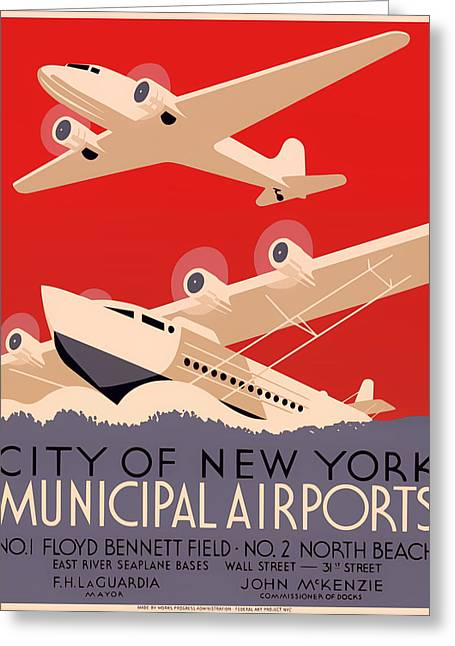 Signed Drawings Greeting Cards - Vintage City of New York Municipal Airports Poster 1937 Greeting Card by Mountain Dreams