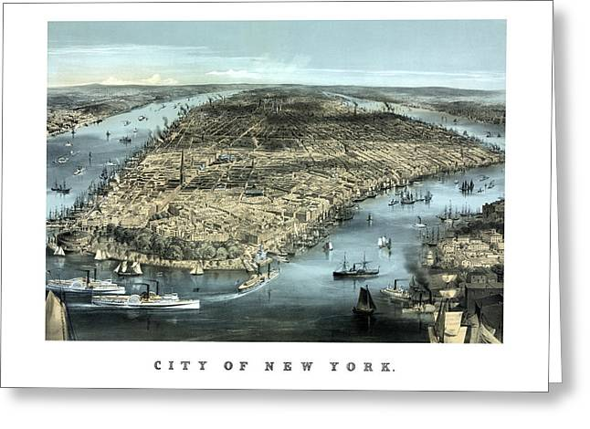 Birds-eye View Greeting Cards - Vintage City Of New York Greeting Card by War Is Hell Store