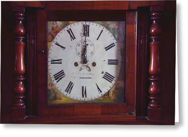 Vintage Clock Wallclock Swiss Time Period Minute Second Hour Calculate Border Frame Wooden Case Wood Greeting Card by Navin Joshi
