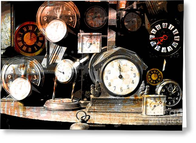 Old Objects Mixed Media Greeting Cards - Vintage Clocks Nostalgic Print Greeting Card by AdSpice Studios