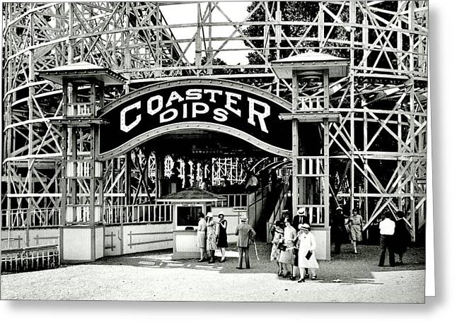 Wooden Coaster Greeting Cards - Vintage Coaster Greeting Card by Benjamin Yeager