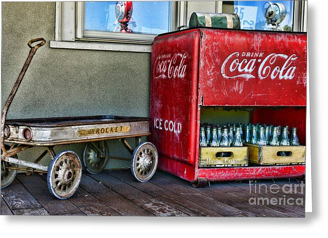 Bottle Rockets Greeting Cards - Vintage Coca-Cola and Rocket Wagon Greeting Card by Paul Ward