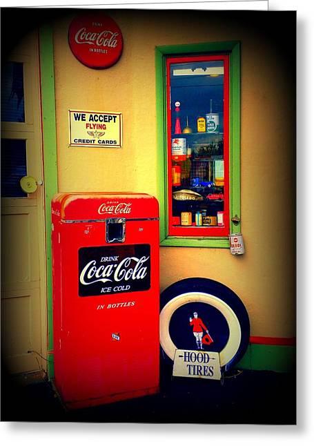 Coca Cola.coke-a-cola Greeting Cards - Vintage Coca Cola Greeting Card by Randall Weidner