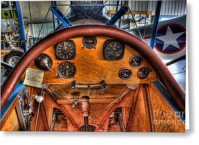 Control Panels Greeting Cards - Vintage Cockpit - Flight Instruments Greeting Card by Lee Dos Santos