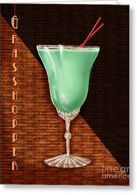 Orange Julep Greeting Cards - Vintage Cocktails-Grasshopper Greeting Card by Shari Warren