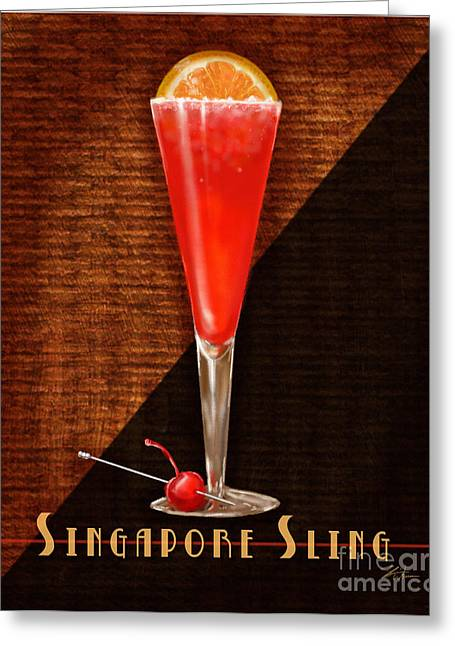 Orange Julep Greeting Cards - Vintage Cocktails-Singapore Sling Greeting Card by Shari Warren
