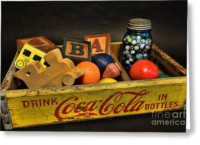 Collectors Toys Photographs Greeting Cards - Vintage Coke and Toys Greeting Card by Paul Ward