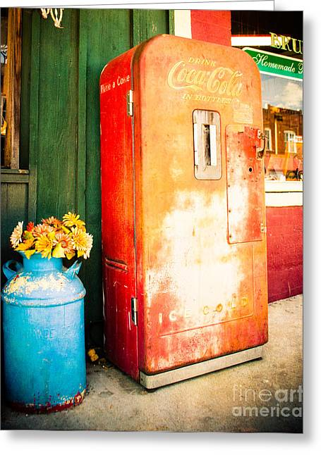 Sonja Quintero Greeting Cards - Vintage Coke Machine Greeting Card by Sonja Quintero