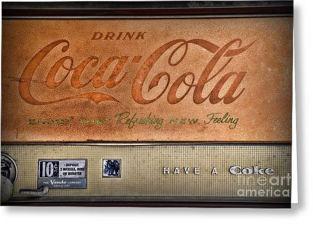 Vending Machine Photographs Greeting Cards - Vintage Coke Vending Machine Greeting Card by Paul Ward
