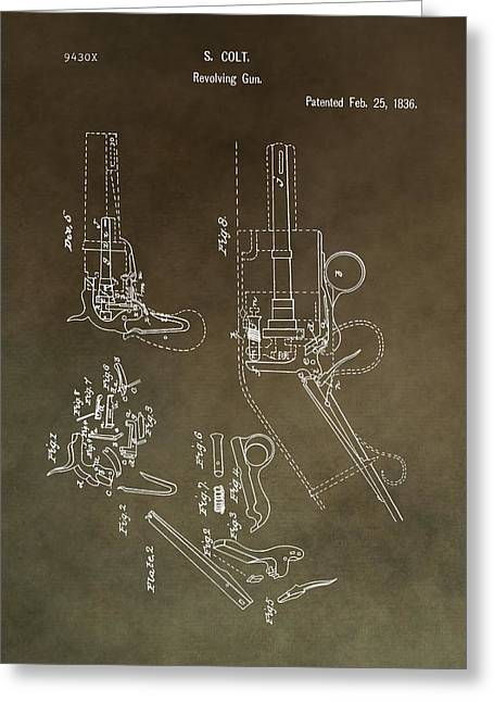 Texas Revolution Greeting Cards - Vintage Colt Revolver Patent Greeting Card by Dan Sproul