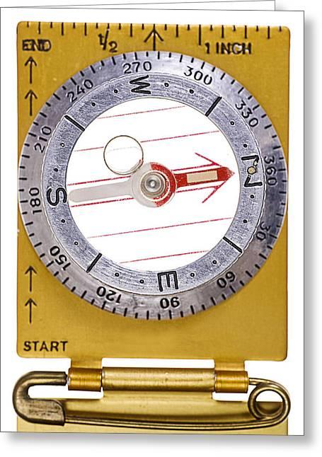 Erickson Greeting Cards - Vintage Compass Arrow Pointing North Greeting Card by Donald  Erickson