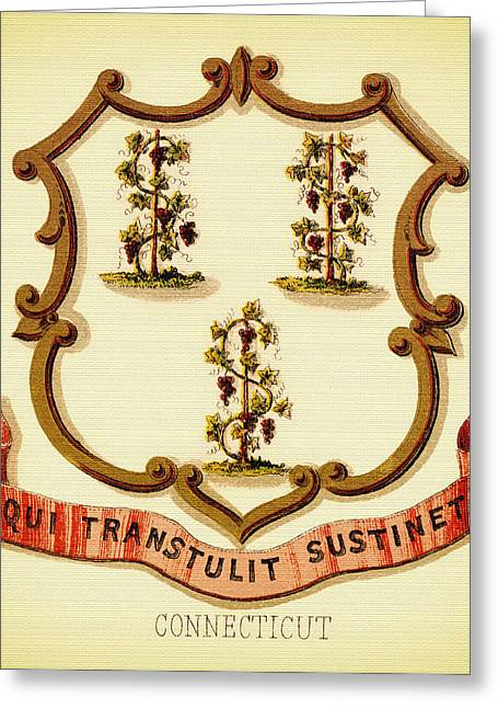 Illustrative Greeting Cards - Vintage Connecticut Coat of Arms - 1876 Greeting Card by Mountain Dreams