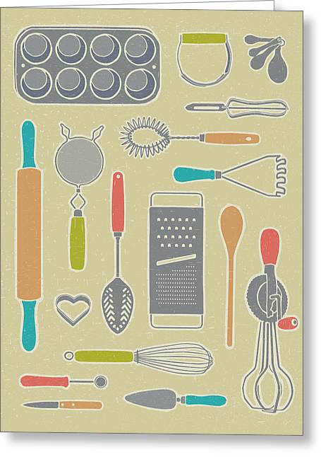 Cheese Cake Greeting Cards - Vintage Cooking Utensils Greeting Card by Mitch Frey
