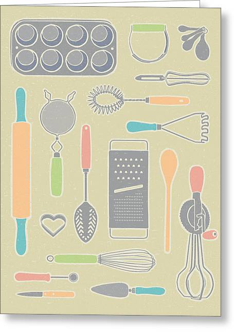 Cheese Cake Greeting Cards - Vintage Cooking Utensils with Pastel Colors Greeting Card by Mitch Frey