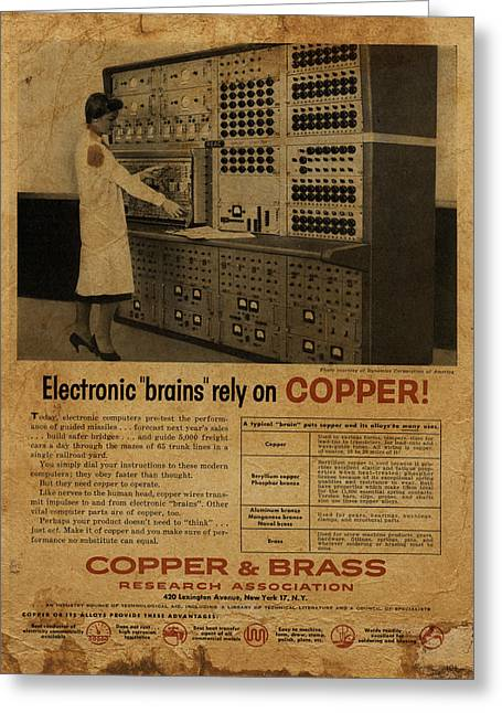Electronics Mixed Media Greeting Cards - Vintage Copper and Brass Retro Magazine Electronics Advertisement Greeting Card by Design Turnpike